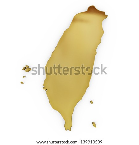 The photrealistic golden shape of Taiwan isolated on white (series) . The rendering even has tiny scratches - stock photo