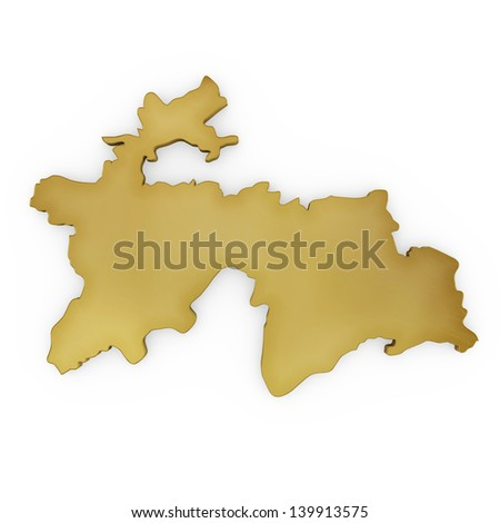 The photrealistic golden shape of Tajikistan isolated on white (series) . The rendering even has tiny scratches - stock photo
