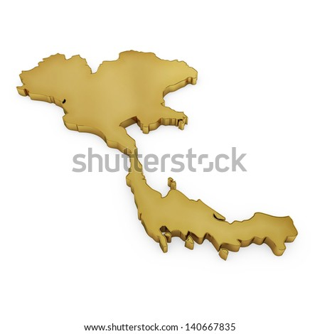 The photrealistic golden shape of Thailand isolated on white (series) . The rendering even has tiny scratches - stock photo