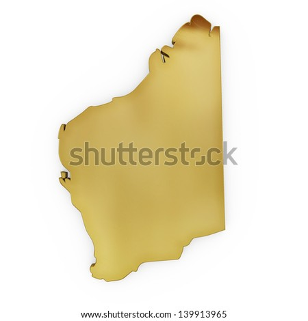 The photrealistic golden shape of Western Australia isolated on white (series) . The rendering even has tiny scratches - stock photo