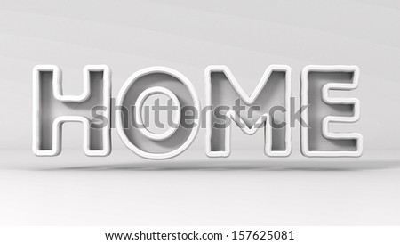 the phrase home on a light gray background - stock photo
