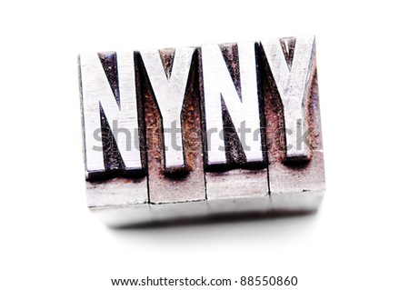 "The phrase ""NYNY"" in letterpress type. Cross processed, narrow focus. - stock photo"