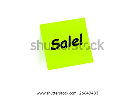 "The phrase ""Sale!"" on a post-it note isolated in white - stock photo"