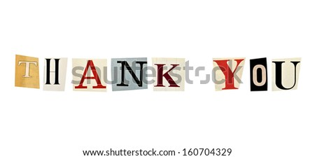The phrase Thank You formed with magazine letters on white background - stock photo