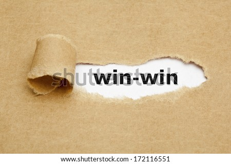The phrase Win-Win appearing behind torn brown paper. - stock photo