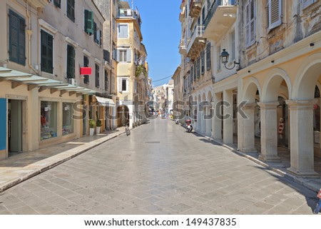 The Piazza at the old town of Corfu island in Greece - stock photo