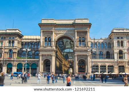 The Piazza Duomo square in Milan, Italy - stock photo