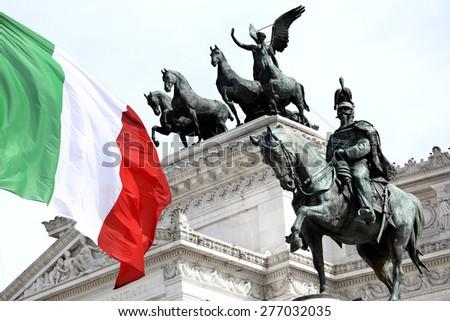 The Piazza Venezia, Vittorio Emanuele, Monument for Victor Emenuel II, in Rome, Italy - stock photo