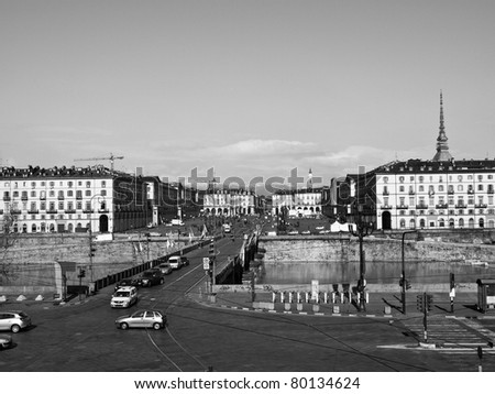 The Piazza Vittorio Emanuele II square in Turin Italy - stock photo
