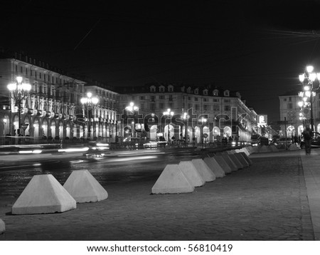 The Piazza Vittorio Emanuele II square in Turin, Italy - at night - stock photo