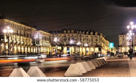 The Piazza Vittorio Emanuele II square in Turin, Italy - at night - high dynamic range HDR - stock photo