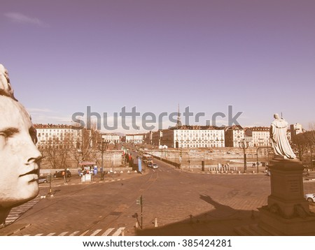 The Piazza Vittorio Emanuele II square in Turin Italy vintage