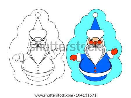 The picture for coloring. Contour of Santa Claus and painted Santa Claus on a white background. EPS version is available as ID 100740547. - stock photo