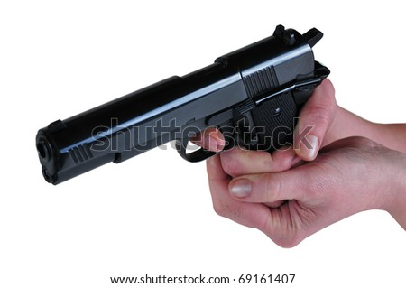 the picture of hands holding a gun