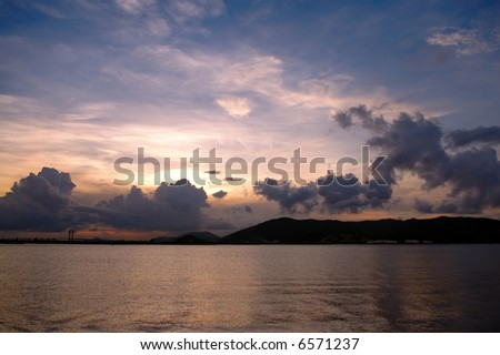 The picture of sunset viewed from sea shore