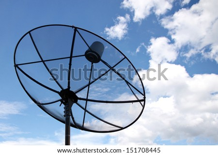 The Picture Satellite dish and Clouds on Blue sky. - stock photo