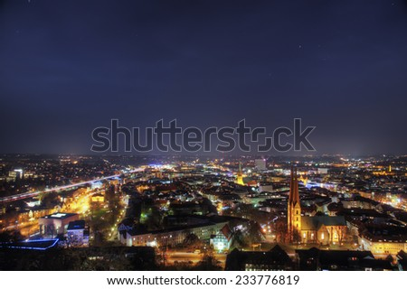 The picture shows a city at night. - stock photo