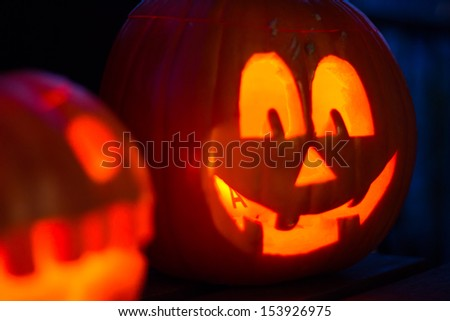 The picture shows a Halloween pumpkin. - stock photo