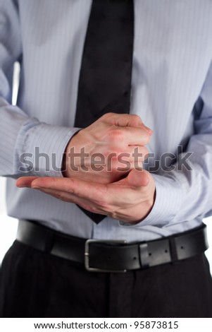 The picture shows a man making a gesture. - stock photo