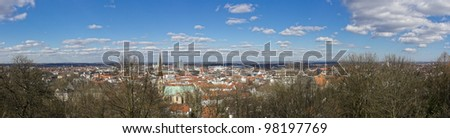 The picture shows a view over Bielefeld from the Sparrenburg. - stock photo