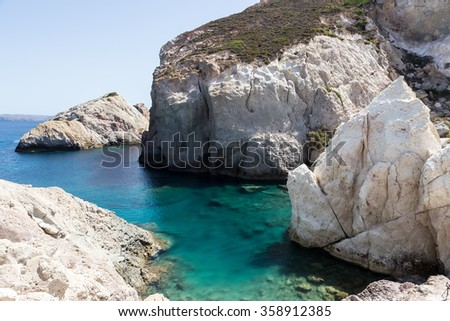 The picturesque beaches of Milos island, Cyclades, Greece - stock photo