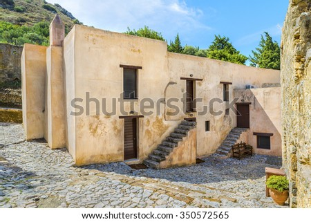 The picturesque buildings of lower Monastery of St. John the Baptist,is part complex of the Patriarchal Preveli Monastery of St. John the Theologian, known as the Monastery of Preveli.Crete.Greece. - stock photo