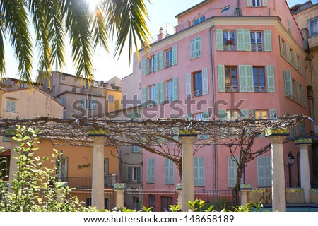 The picturesque garden in the centre of the town of Menton, located  near Monaco and Nice, Provence-Alpes-Cote d'Azur region, France. - stock photo