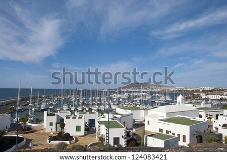 The Picturesque Houses and Harbour of Playa Blanca Lanzarote - stock photo