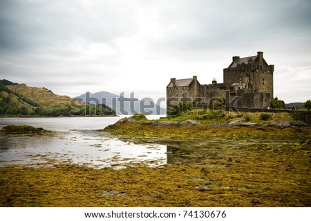 The picturesque medieval Eilean Donan castle on Loch Duich near Dornie in the western Highlands of Scotland - stock photo