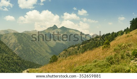 The picturesque mountain landscape. Beautiful pine trees and green alpine meadow .White clouds in the blue sky. - stock photo