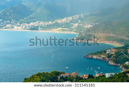 The picturesque panorama of the Adriatic coast near the town Sveti Stefan, Montenegro, Balkans - stock photo
