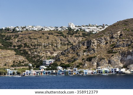 The picturesque town of Milos island, Cyclades, Greece - stock photo