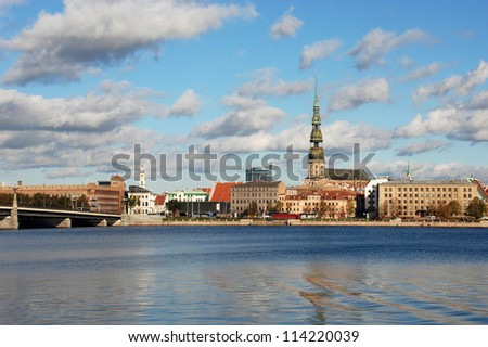 The picturesque view of the embankment of Riga, the capital of Latvia - stock photo