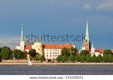 The picturesque view of the Riga Castle - the residence of President of Latvia; (Old Town, Riga, Latvia) - stock photo
