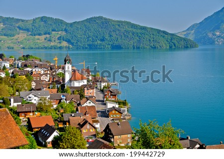 The picturesque village of Beckenried and beautiful Lake Lucerne, Switzerland - stock photo