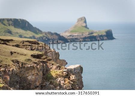 the picturesque Worms Head Peninsula, South Wales UK - stock photo