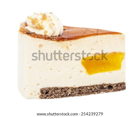 The piece of a pie, cake of a souffle with fruit jelly and cream isolated on the white - stock photo