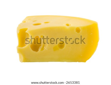 the piece of cheese isolated on white background