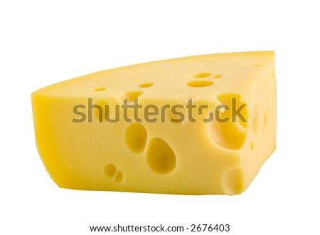 the piece of cheese isolated with clipping path - stock photo