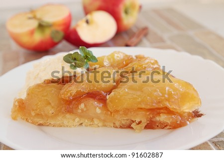 the piece of hot apple pie with the caramel - stock photo