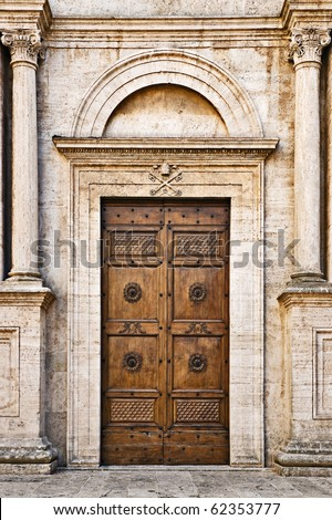 The Pienza Duomo (Cathedral) door, Tuscany, Italy