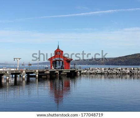 The pier at Seneca Lake harbor in Watkins Glen, New York - stock photo