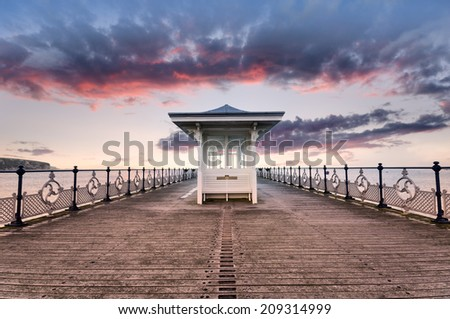 The pier at Swanage on the Dorset coast - stock photo