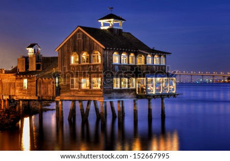The Pier Cafe in Seaport Village San Diego, California. - stock photo