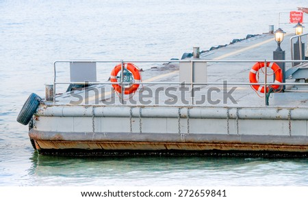 the pier for pick up passengers with lifebuoy