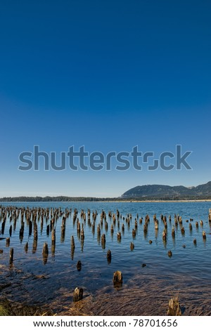The pier foundation is all that remains of an old cannery in Wheeler, Oregon State, USA - stock photo