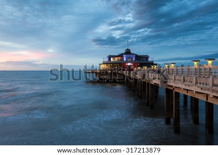 The Pier illuminated at night. City of Blankenberge, West Flanders, Belgium - stock photo