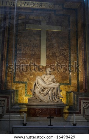 The Pieta - sculpted by Michelangelo in St. Peter's Basilica. Rome, Italy. - stock photo