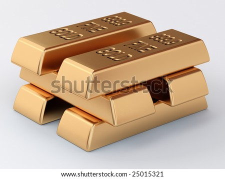 the pile of golden ingots - stock photo
