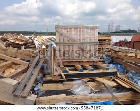 The pile of recycle wood at industrial area.